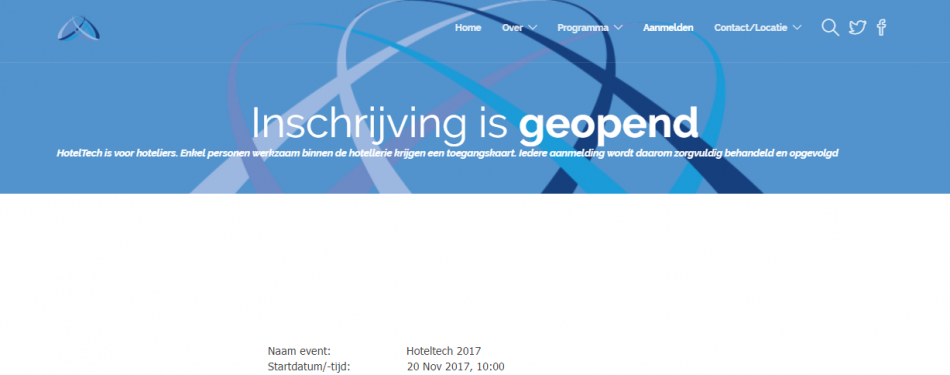Inschrijving HotelTech 2017 is geopend<